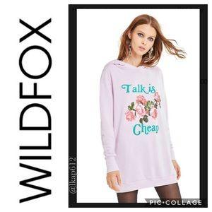 NWT Wildfox Talk is Cheap Rebel Hoodie